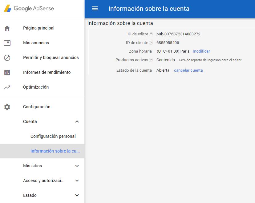cancelar cuenta google adsense